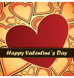Valentine day card with hearts vector