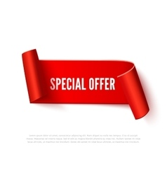 Red curved paper ribbon banner with rolls and vector