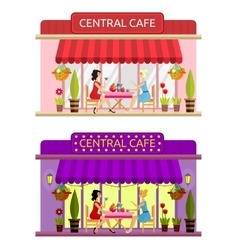 Open cafe building facade  flat vector