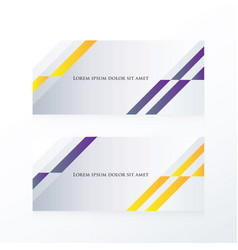 Abstract banner design purple yellow vector