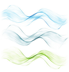 amazing transparent wave setbluegreen and pink vector image vector image