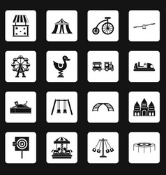 Amusement park icons set squares vector