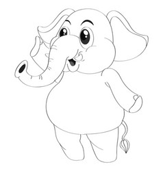 Animal outline for elephant standing vector