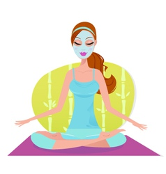 beautiful meditating yoga woman with facial mask vector image vector image