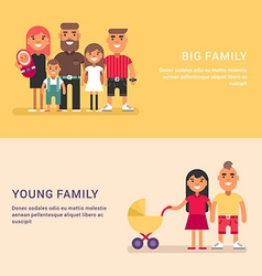 Big family and young family Colored web banners on vector image vector image