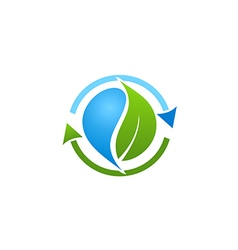 Bio recycle green leaf logo vector