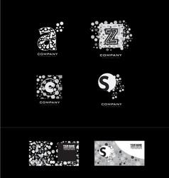 Black and white dot letter logo vector