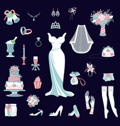 Bride accessories set wedding items for vector