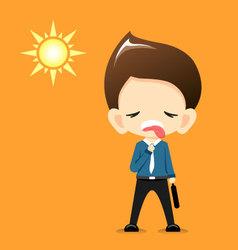 Businessman feeling hot with the sun vector