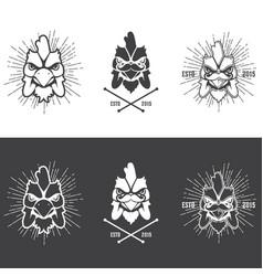 butcher shop vintage emblem rooster meat products vector image vector image