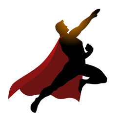 Cartoon silhouette of a superhero flying vector