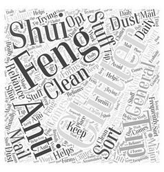 Clutter and feng shui word cloud concept vector