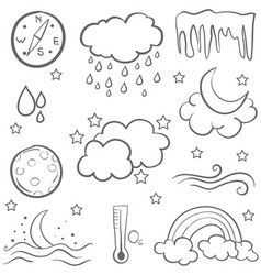 Collection of weather doodles art vector