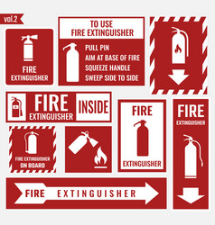 fire extinguisher labels and signs vector image