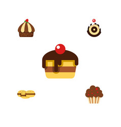 flat cake set of biscuit cupcake dessert and vector image vector image