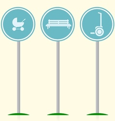 Flat with signs for active leisure in the park vector image