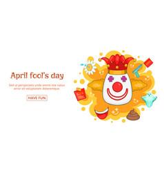 Fools day banner horizontal clown cartoon style vector