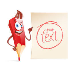 funny pencil with a piece of paper to put text vector image