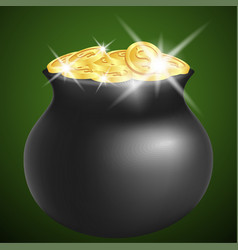 green pot with shiny gold vector image