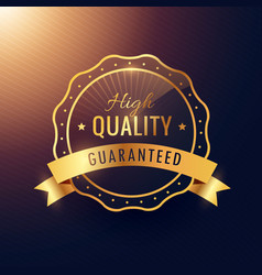 high quality guarantee golden label and badge vector image vector image