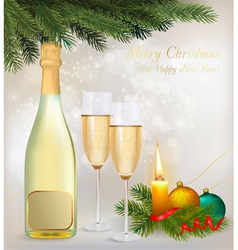 Holiday background with two glasses of champagne vector