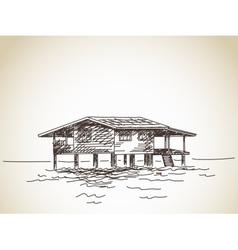 House on stilts on water vector