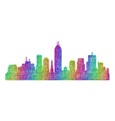 Indianapolis skyline silhouette - line art vector image
