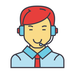 man with a headset call center operator client vector image