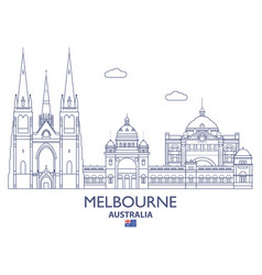 Melbourne city skyline vector
