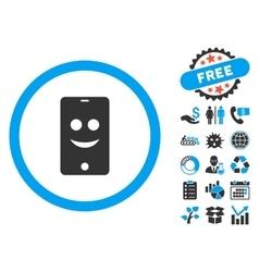 Mobile Phone Smile Flat Icon with Bonus vector image