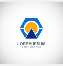 polygon technology company logo vector image
