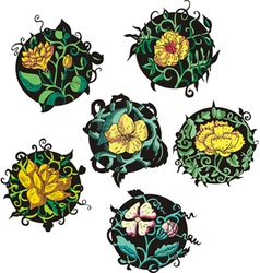 Round yellow flower designs vector