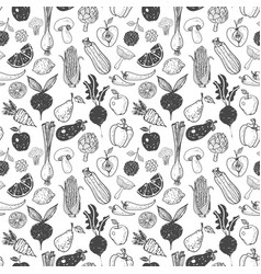 seamless background with doodle vegetables and vector image