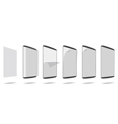 Set apply screen protector tablet pc vector