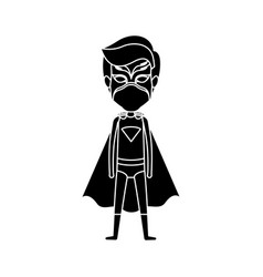 Silhouette black full body standing superhero male vector