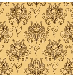 Silhouettes of paisley styled flower seamless vector image