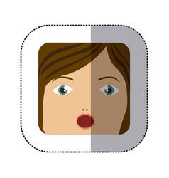 Sticker cartoon human female face surprised vector