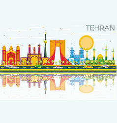 Tehran skyline with color landmarks blue sky and vector