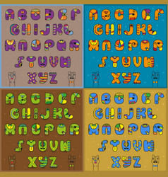 vintage artistic alphabets vector image vector image