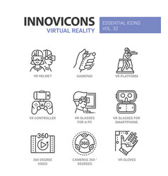 Virtual reality - modern line icons set vector