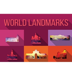 World landmarks famous buildings Europe America vector image vector image