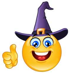 Emoticon with witch hat vector