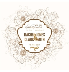 Vintage brown frame floral drawing wedding vector