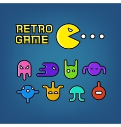 Pac man and ghosts for arcade computer game vector image