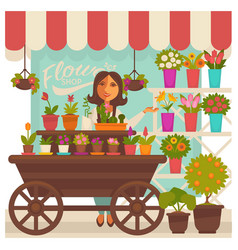 Florist woman near flower shop showcase colorful vector