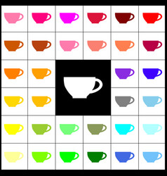 cup sign  felt-pen 33 colorful icons at vector image