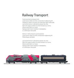 Brochure locomotive with tank on railway platform vector