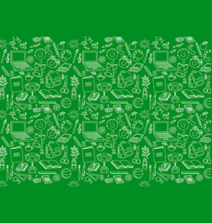 Back to school seamless pattern on green vector