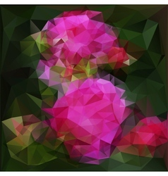Polygonal background with pink flowers vector