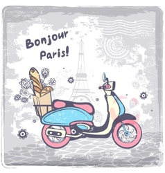 Vintage paris postcard vector